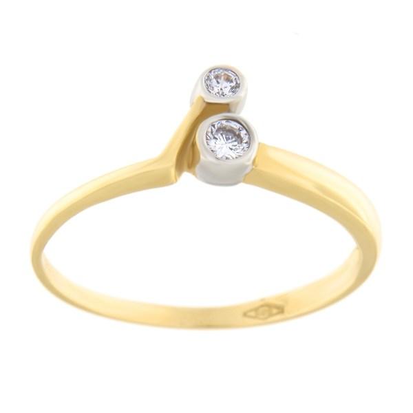 Kullast sõrmus tsirkoonidega Kood: 23pa