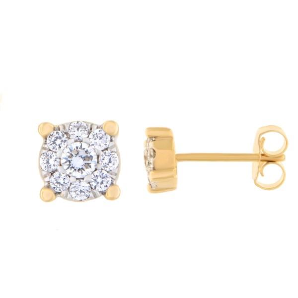 Kullast kõrvarõngad teemantidega 0,31 ct. Kood: 11at