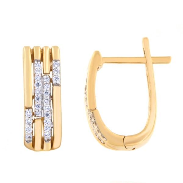 Kullast kõrvarõngad teemantidega 0,14 ct. Kood: 26af, 56ak