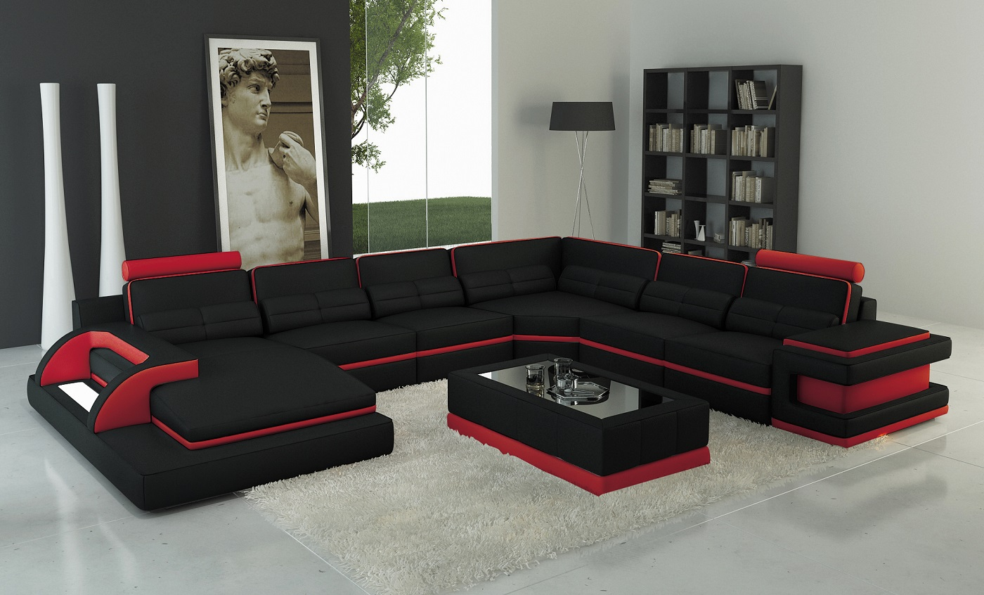 torro sectional sofa with led lights black red trim