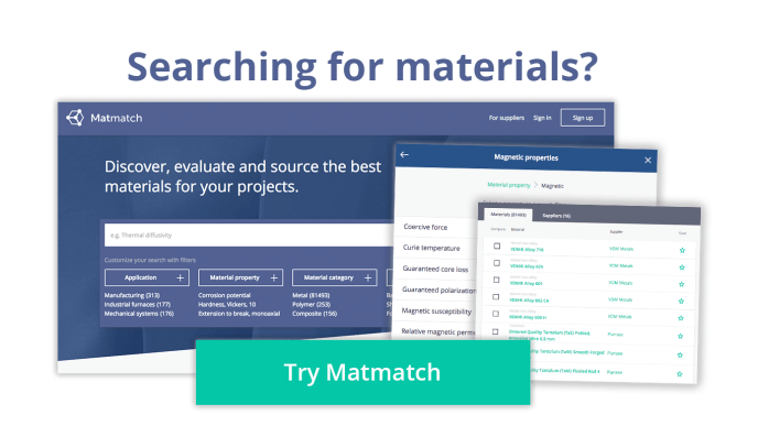 searching for materials? try matmatch