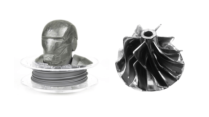 Steel figure printed using ColorFabb's SteelFill filament and a compressor wheel made with 316L stainless steel and the DMD method by 3D systems.