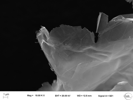 SEM images of graphene (Mag = 500x and 10,000x). (Courtesy of Italcementi press office)2