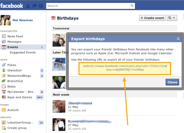 Add Facebook to Lotus Notes Calendar Step 3