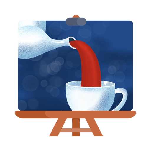 Teapot and cup of tea in Procreate