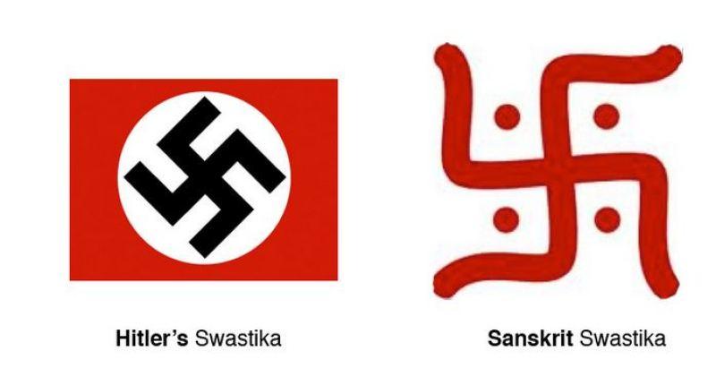 Svastica nazistă, inspirată de svastica sanscrită, cu o conotaţie total diferită