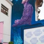 Mural de mari dimensiuni (Piaţa Lahovari), realizat de artiștii de la Street Art Crew