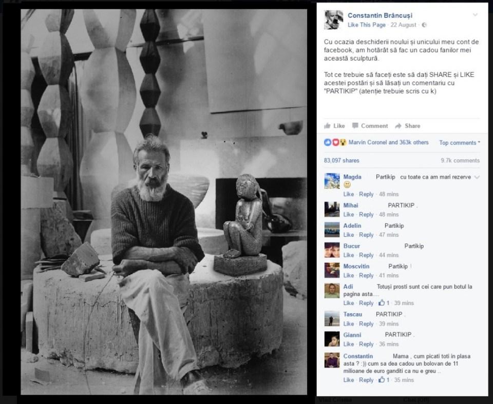"""""""Cuminţenia"""" lui Constantin Brâncuşi, obiect de farsă pe internet"""