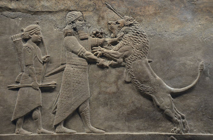 Sculpted reliefs depicting Ashurbanipal, the last great Assyrian king, hunting lions, gypsum hall relief from the North Palace of Nineveh (Irak), c. 645-635 BC,