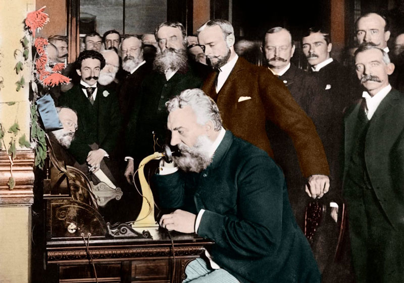 Alexander Graham Bell makes a call (history.com)