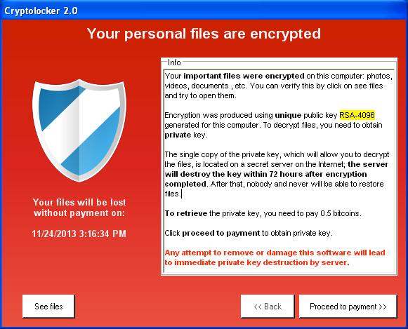 Cryptolocker Ransom Popup