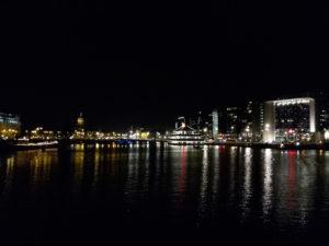 skyline harbor amsterdam night