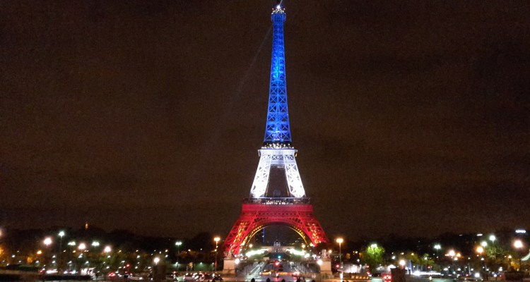 Eiffel tower french flag night Paris