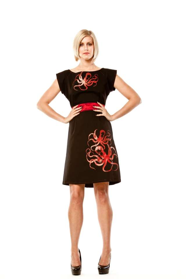 Octopus Print Red & Black Belted Blouse Dress