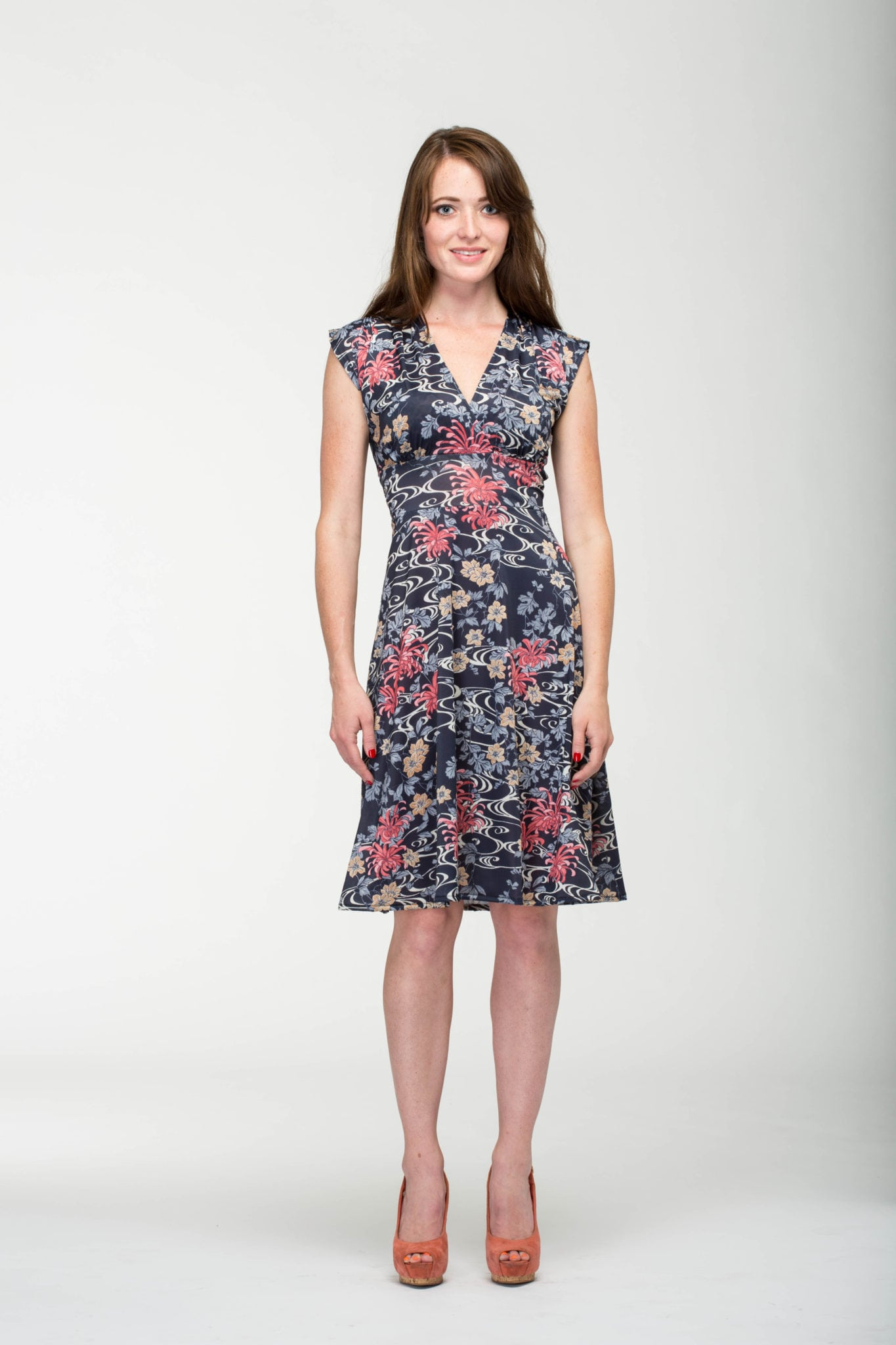 Veronica Lake Swirl Flower Dress