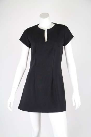 Black Tunic Dress with Darts- Front - Matrushka Fashion