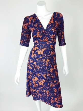Brown Ivy Pattern Navy Knee Length Cleopatra Dress
