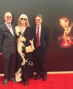 Carey Oakrand (center) wears Matrushka at the 2016 Creative Arts Emmy Awards.