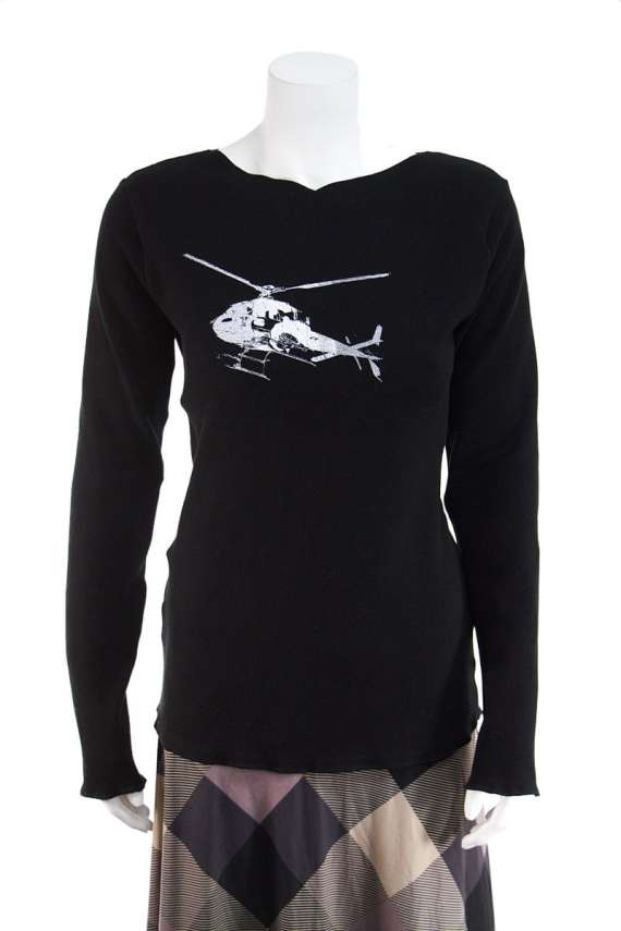 Black Long Sleeve Top with Helicopter
