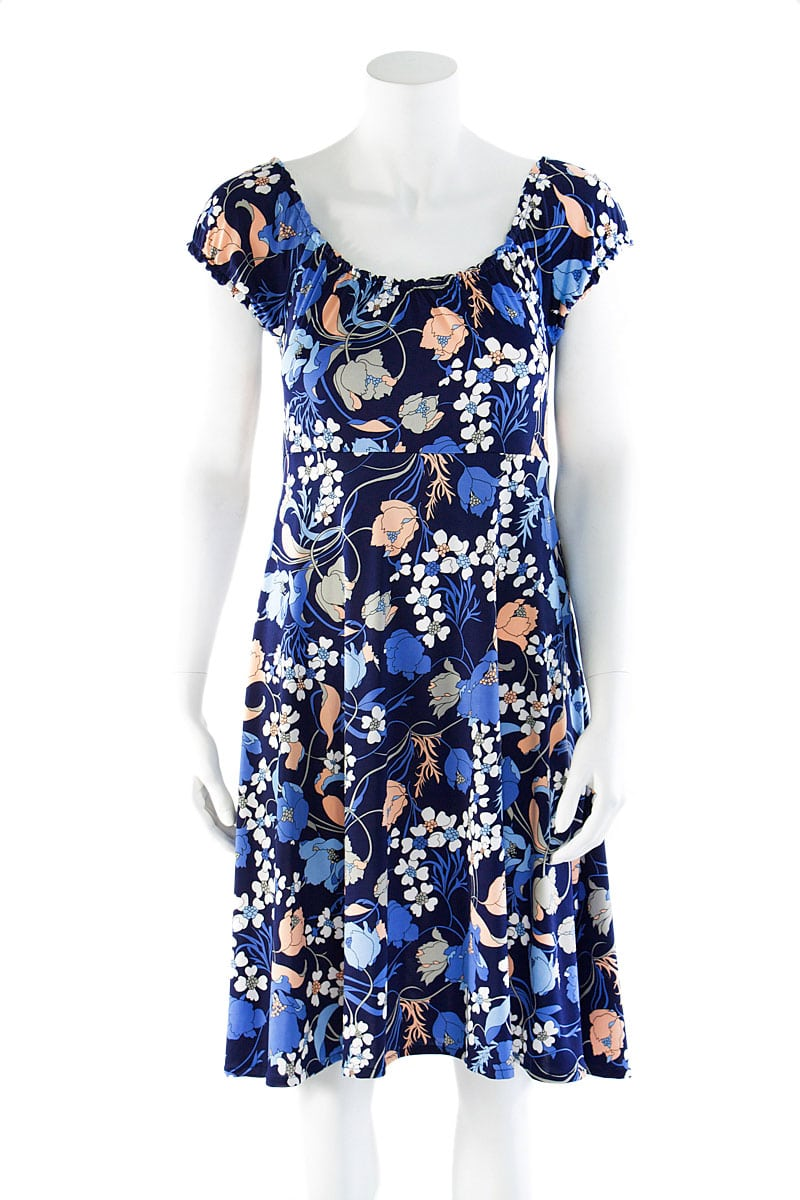 Blue Lilly Peasant Dress