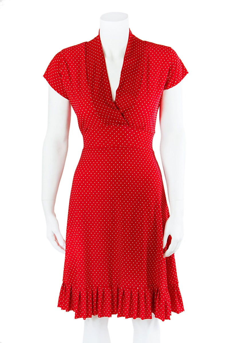 Red Dot Vintage Cap Sleeve Dress with Pleats