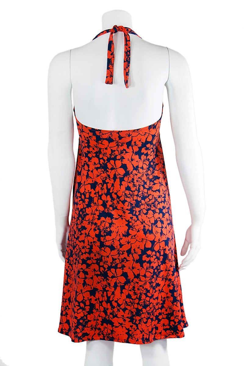 Orange and Navy Floral Halter Midi Dress