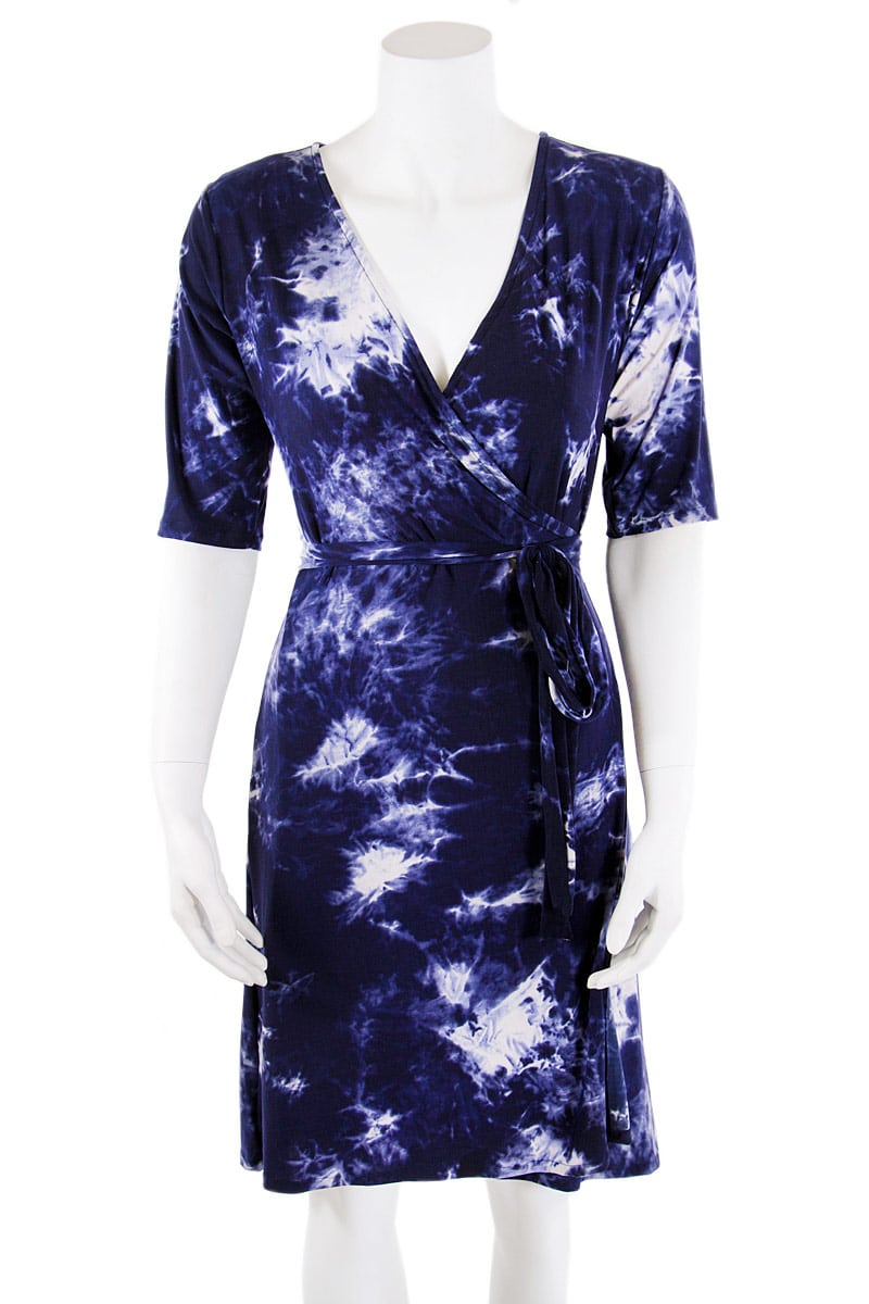 Blue Tie-Dye Midi Wrap Dress