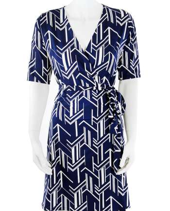 Navy Arrow Wrap Dress