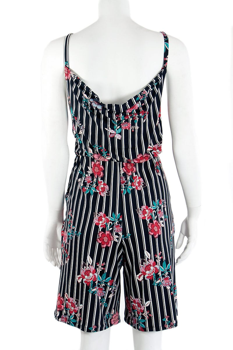 Stripped Floral Strappy Romper
