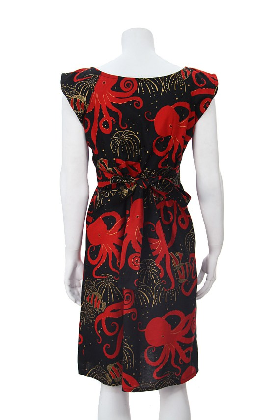 Red Octopus Belted Blouse Dress