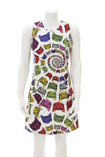 60's Mini Dress Colorful Cats