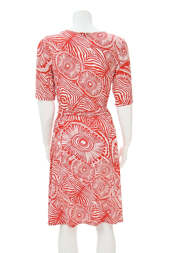 Red and White cocktail hour wrap dress