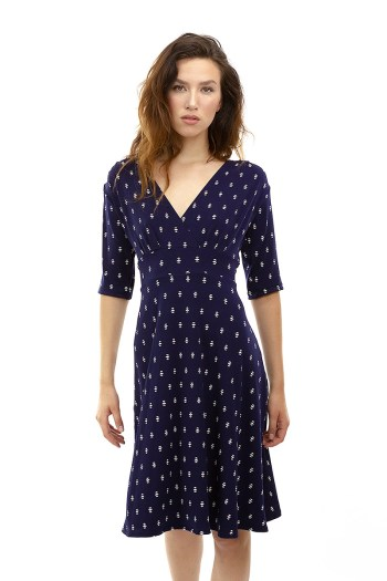 Navy with White Arrows Cleopatra Dress