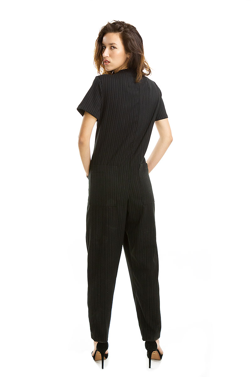 Black Pinstripe Coveralls