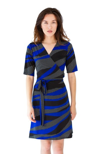 Black and Blue Wave Wrap Dress