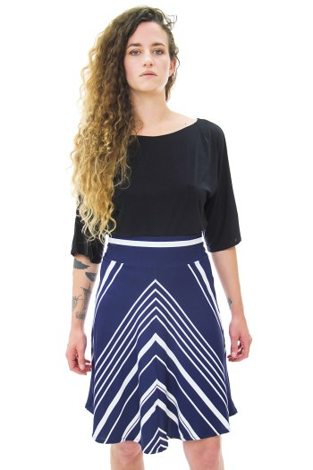 Navy White Chevron Skirt