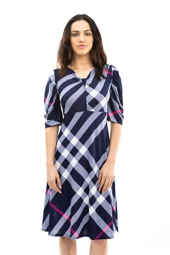 Navy and Pink Plaid Keyhole Dress