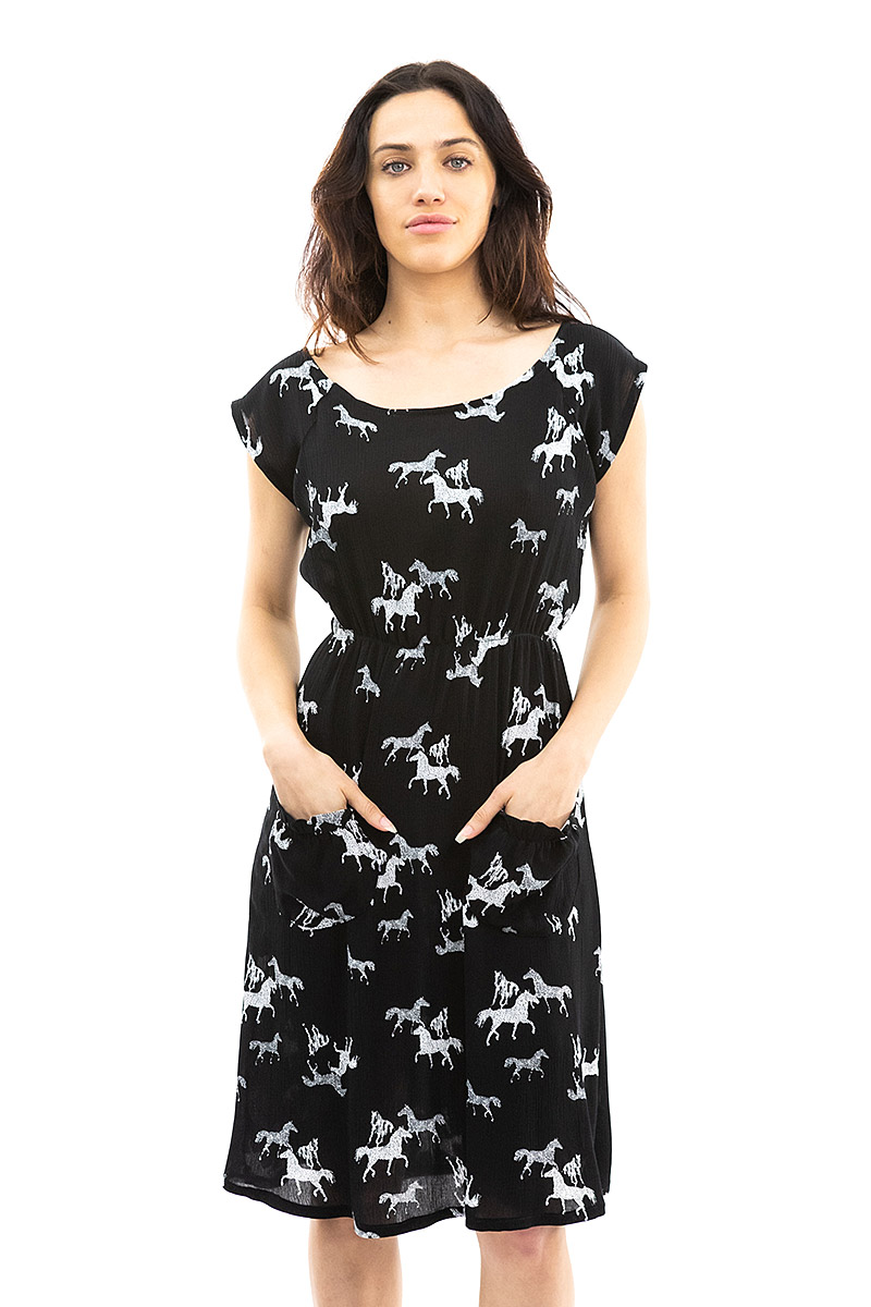 Black and White Horse Belted blouse Dress