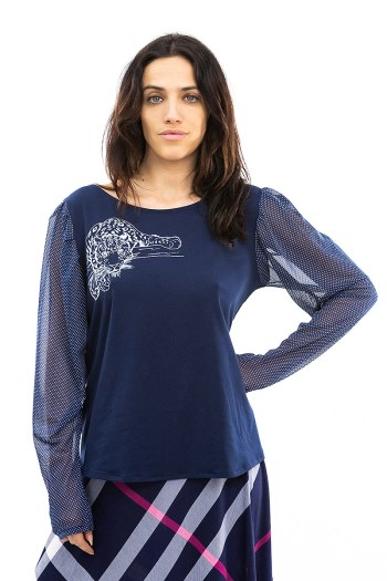 Blue Cheetah With Long Sleeves