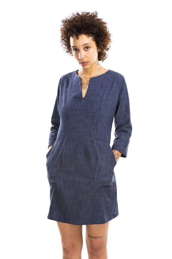 Blue Denim Pocketed tunic dress