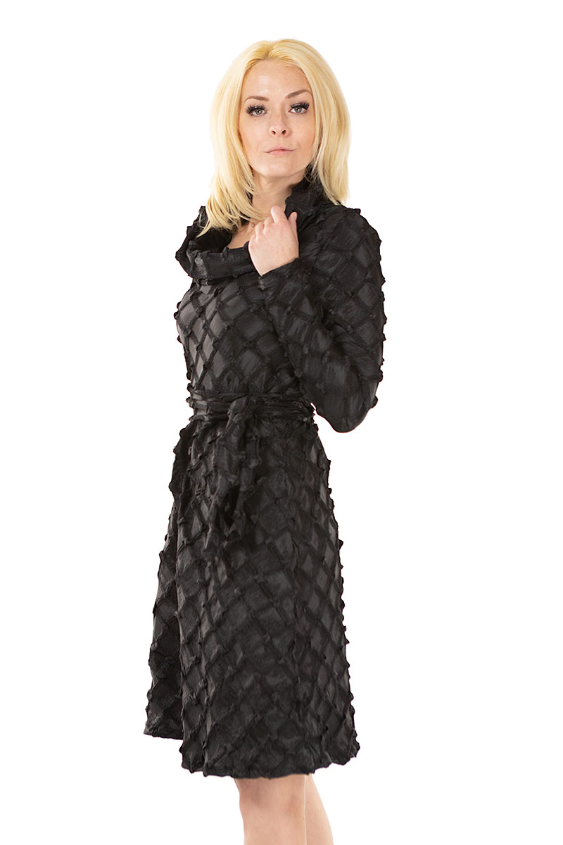 black accordion Turtle neck dress