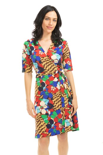 60's Fun Floral Wrap Dress