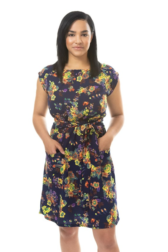 Navy Floral belted blouse dress