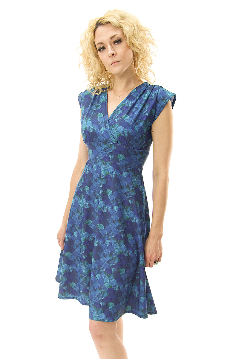 Blue Scallop Veronica Lake Dress