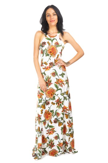 White Botanical Halter Dress