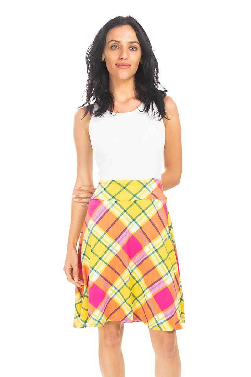 Electric Yellow Plaid Cleo Skirt