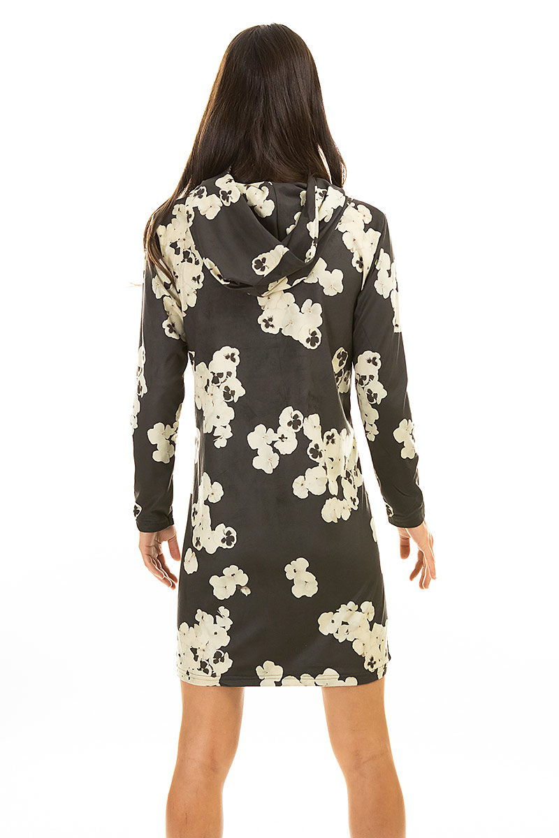 Ultra Soft Brown Floral Hoodie Dress