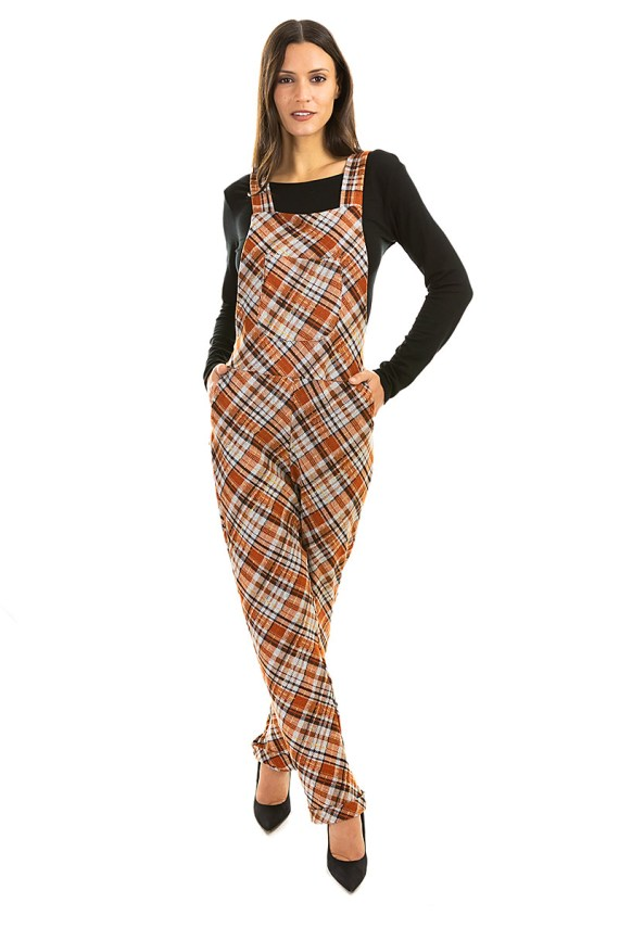Fall Plaid Overalls