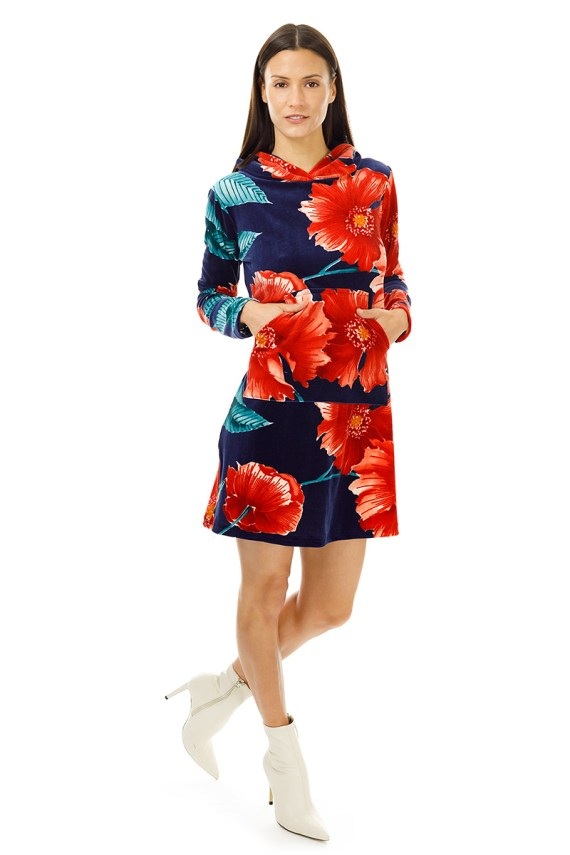Blue and Red Floral Velvet Hoodie Dress