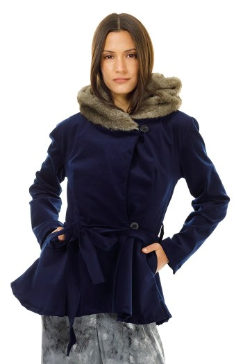 Navy Corduroy and Faux Fur Hood